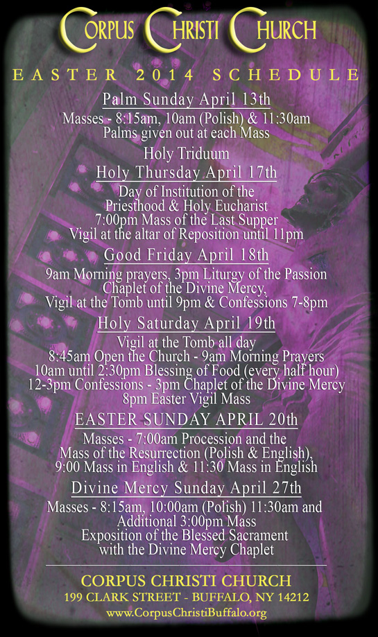 Holy Saturday Schedule